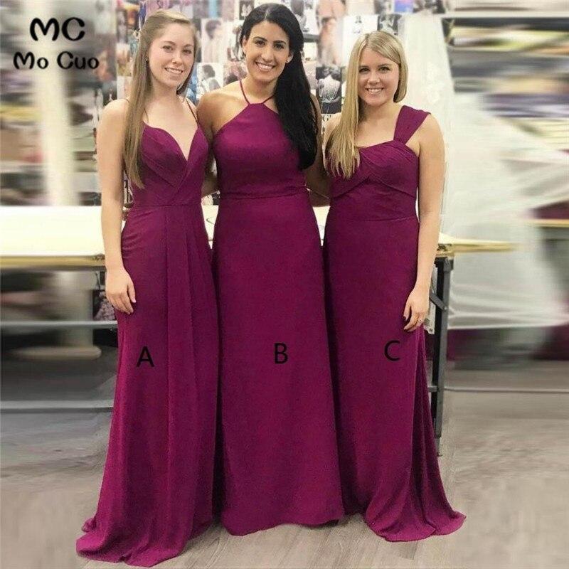 2019 Cheap In Stock Grape Wedding Party   Dress     Bridesmaid     Dresses   Long ABC Design Chiffon Formal Women   Bridesmaid     Dress