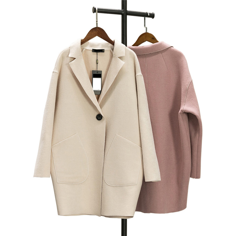 Women wool coat autumn new Cashmere large size thin jacket 2018 spring mediun long solid color