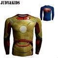Bodybuilding da Aptidão que funciona Compressão T-Shirt Vingadores Marvel Capitão América em 3D adolescente traje spiderman superman batman Topos
