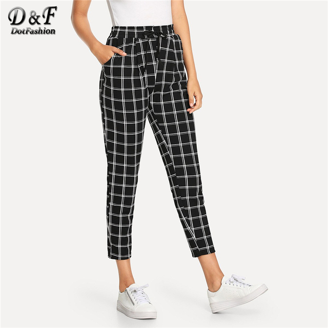 Dotfashion Black And White Plaid Drawstring Waist Checked Pants Women Casual Autumn Tapered Carrot Ladies Spring Crop Trousers
