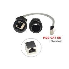 Cat5e rj45 impermeável conector da glândula ethernet lan preto ip68 proteção m20 cat 5e rj 45 macho ao cabo ao ar livre ap fêmea