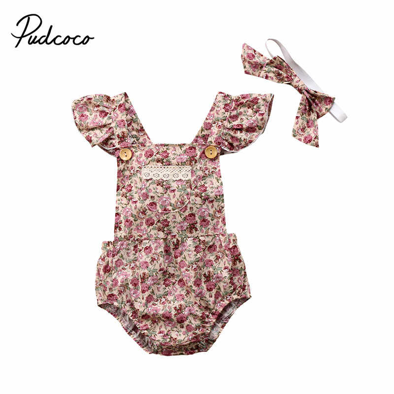 b41dfb6c9cca Boho Style Newborn Infant Baby Girls Floral Lace Sleeveless Rompers Clothes  Jumpsuit Playsuit Headband Infant Girls