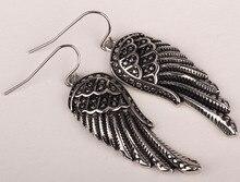 Alas del ángel cuelga los pendientes largos para las mujeres de acero inoxidable 316L del motorista punky de la joyería de plata al por mayor del tono moda 2015 EC23