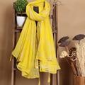 140*180 см 2016 Новый Стиль Кисточкой Шарф Хлопка Желтые Листья Хиджаб Платок Для Женщин Платки Мода Бандана и Пашмины