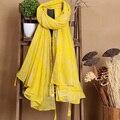 140*180 cm 2016 Nuevo Estilo de la Marca de La Borla de La Bufanda de Algodón Hojas Amarillas Mantón Hijab Para Las Mujeres Foulard Pañuelo De Moda y Pashmina