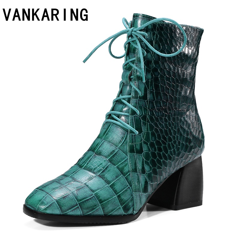 VANKARING genuine cow leather ankle boots for women fashion square toe lace-up cut-outs short boots high heel riding snow boots стоимость