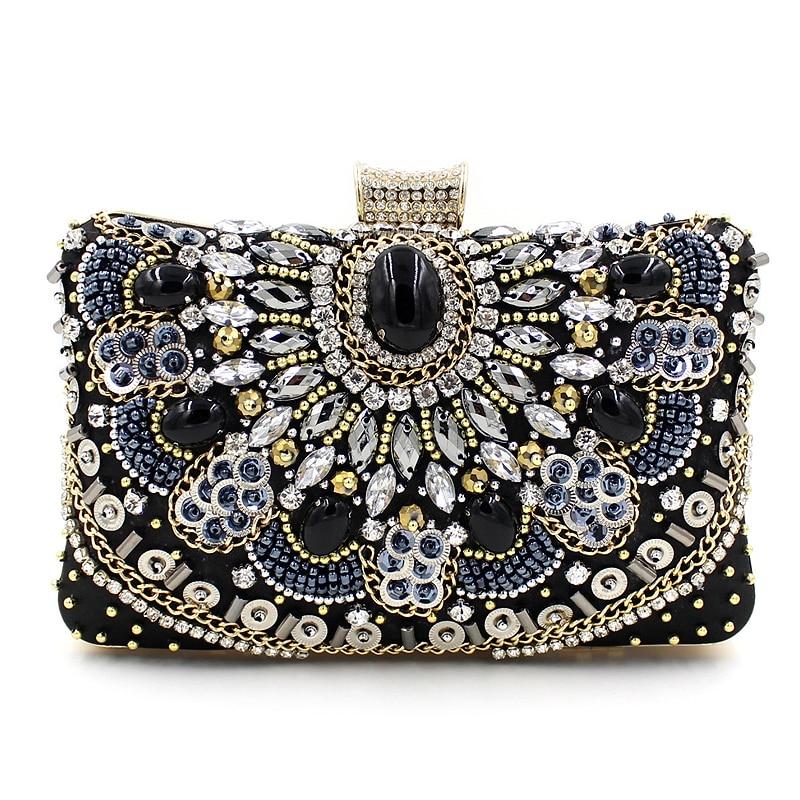 ФОТО Luxury high quality handmade beaded chain diamond gem black evening bag wedding party handbag women's Clutch mini messenger bag