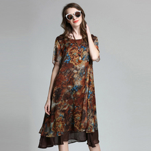 Loose Long Floral Printed Chiffon Dress Short Sleeve Summer Layered Midi Dresses Plus Size Women Clothing xl,2xl,3xl,4xl