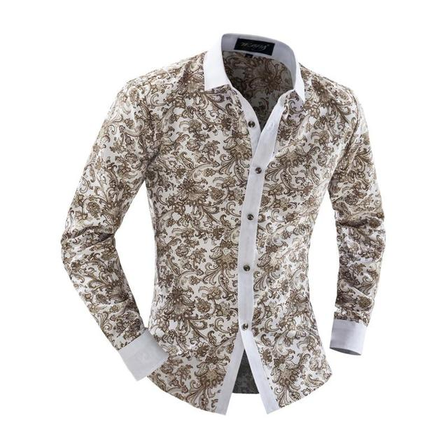 cb06f9353 2016 New Arrival Mens Slim Fit Casual Dress Shirts Floral Print Long Sleeve  Design Blouse Lapel