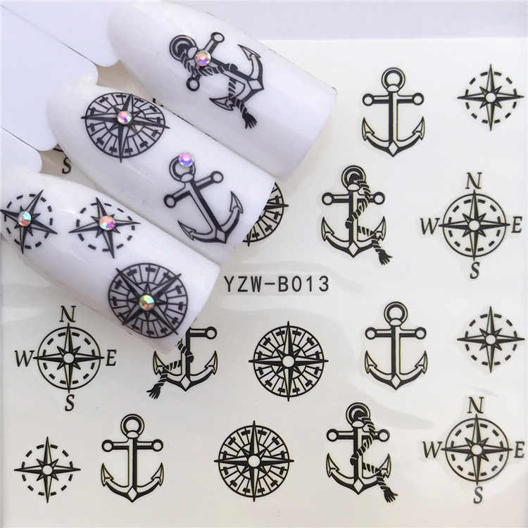 Nail Sticker Water Decals Nails Art Stickers Tattoo Slider Anchor Compass Design Decorations Manicure Transfer Foil Wraps
