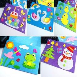 Детей мультфильм DIY стикерные Игрушки Нетканые чувствовал коллаж симпатичные украшения Стикеры s игрушка для обучения подарки Лебедь