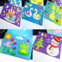 Children Cartoon DIY Sticker Toys Non-Woven Felt Collage Cute Decoration Stickers Educational Toy Gifts Swan Frog Duck 1 Set(China)