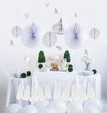 White Wedding Engagement Party Decoration Set 25pcs Honeycomb Balls Paper Fans Hanging Swirl Tassel Garland for Decor
