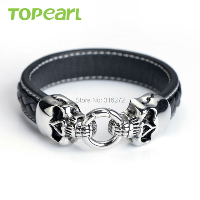 Topearl Jewelry Stainless Steel Double Skull Head Black Genuine Leather Bracelet MEB24