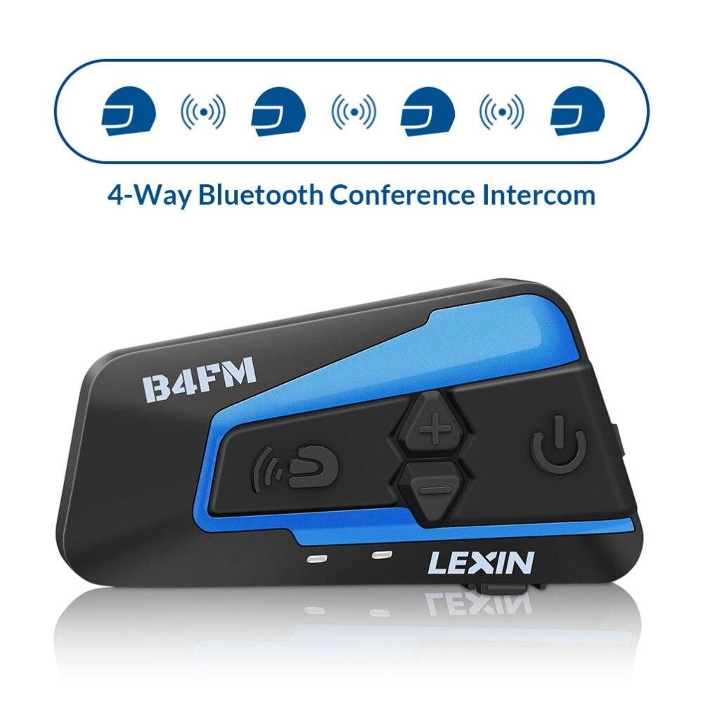 Neueste 2018 Lexin 4 reiter reden zur gleichen zeit mit FM Motorrad Bluetooth Helm Headsets Intercom BT intercomunicador