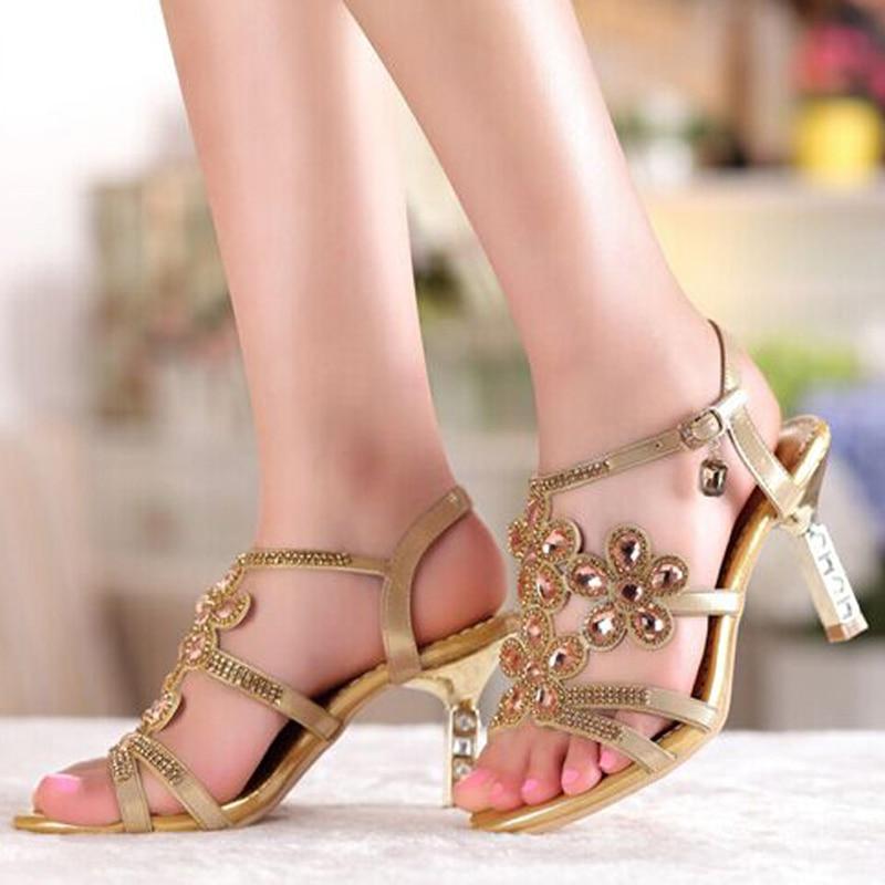 ФОТО Summer Fashion high-heeled sandal Women Sandals Crystal Rhinestone Shoes Open Toe Women Wedges Sandals