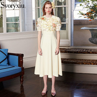 Svoryxiu Summer Runway Designer Brand Dress Women S High Quality Short Sleeve Fine Floral Embroidery Midi
