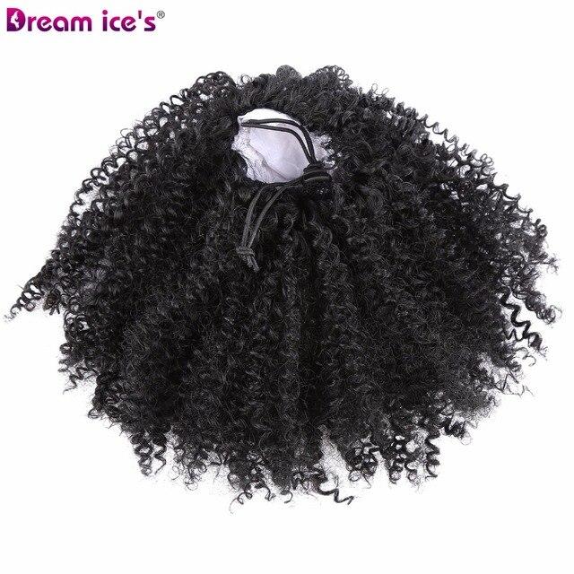 12 pulgadas Puff Afro rizado Cola de Caballo cordón corto negro Pony cola Clip en pelo sintético en Barrettes bollo pelo scrunchies
