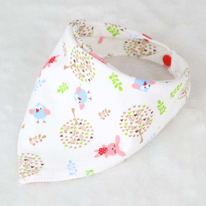 Baby bibs High quality triangle double layers cotton baberos Cartoon Character Animal Print baby bandana bibs dribble bibs finger print bandana