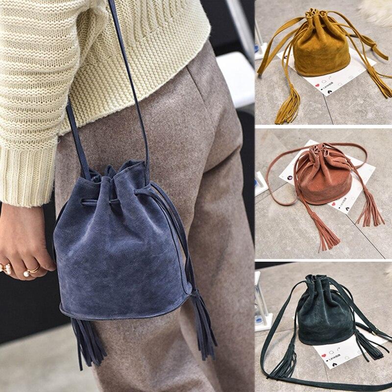 Tassel Drawstring Bucket Bag Messenger Crossbody Shoulder Bags Women's Handbags Retro Clutch Ladies Female Girls Gift Purse Tote