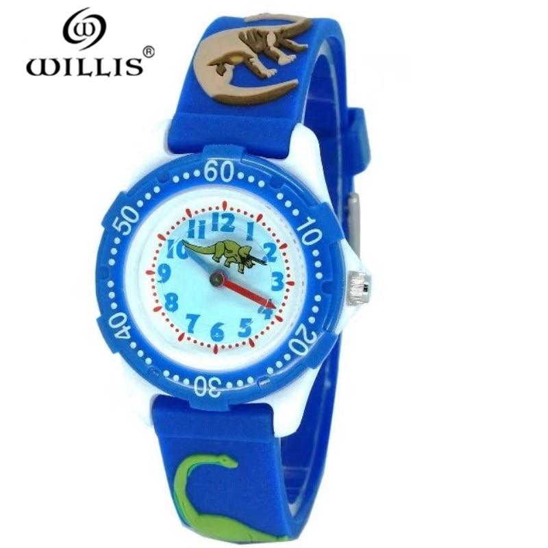 WILLIS Children Watches Cute Kids Watches Sports Cartoon Watch For Girls Boys Dinosaur Rubber Bracelets Quartz Clock Wristwatch
