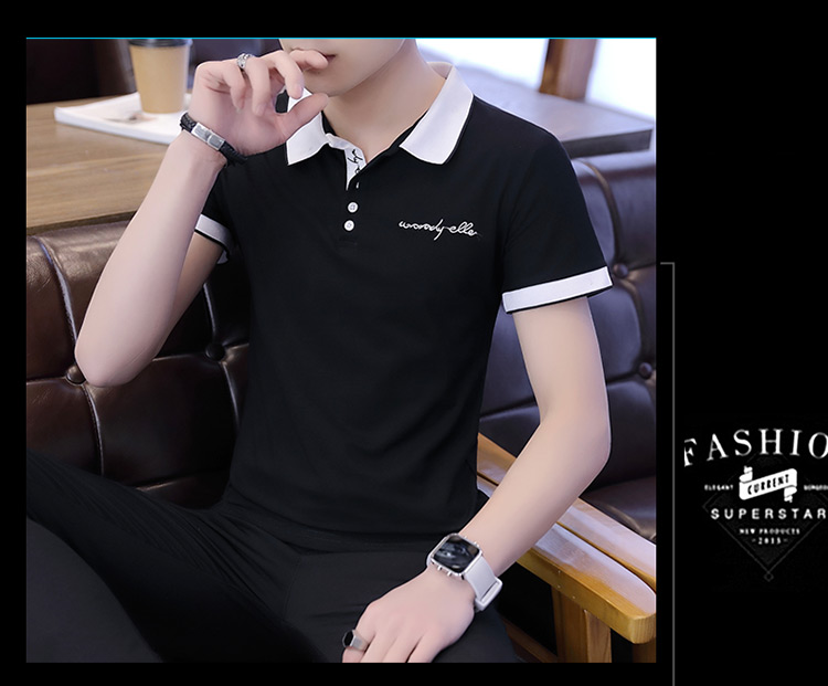 2019 men splicing t-shirts with short sleeves Comfortable in summer youth leisure lapel t-shirts 24