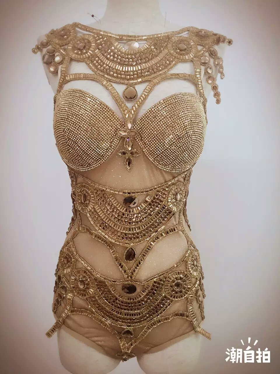 Women s Fashion Leotard Bright Bodysuit Costume Crystal Perspective Stage Dancewear Performance Dresses Singer Nightclub Dresses