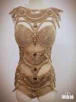 Women's Fashion Leotard Bright Bodysuit Costume Crystal Perspective Stage Dancewear Performance Dresses Singer Nightclub Dresses