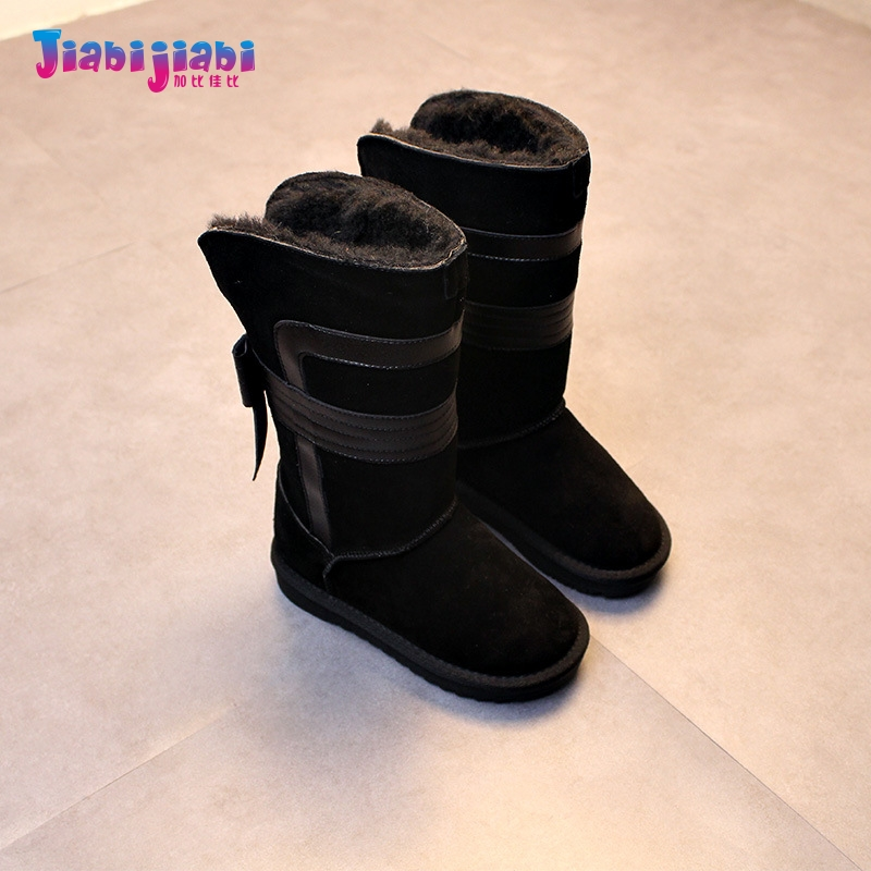 2-10T New 2017 Winter Children Genuine Leather Fur Boots Baby Girls Boys Shoes Toddler Casual kids Knee-High Snow Boots
