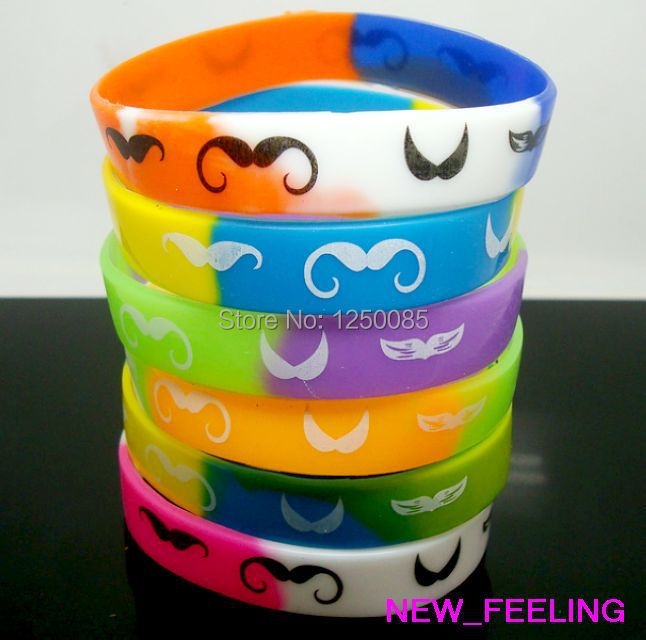 Wholesale 25pcslot Mixed Color Moustache Print Silicone Rubber Bangle Wristband for Women Men Fashion Jewelry