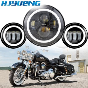 "Image 2 - 60w 7inch Led Headlights White Halo Angel Eye+2pcs 4.5""Inch Led Fog Lights Halo For 66 Touring Electra Glide Road"