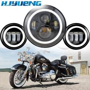 """Image 2 - 60w 7inch Led Scheinwerfer Weiß Halo Engel Auge + 2 stücke 4.5 """"Zoll Led Nebel Lichter Halo für 66 Touring Electra Glide Road"""