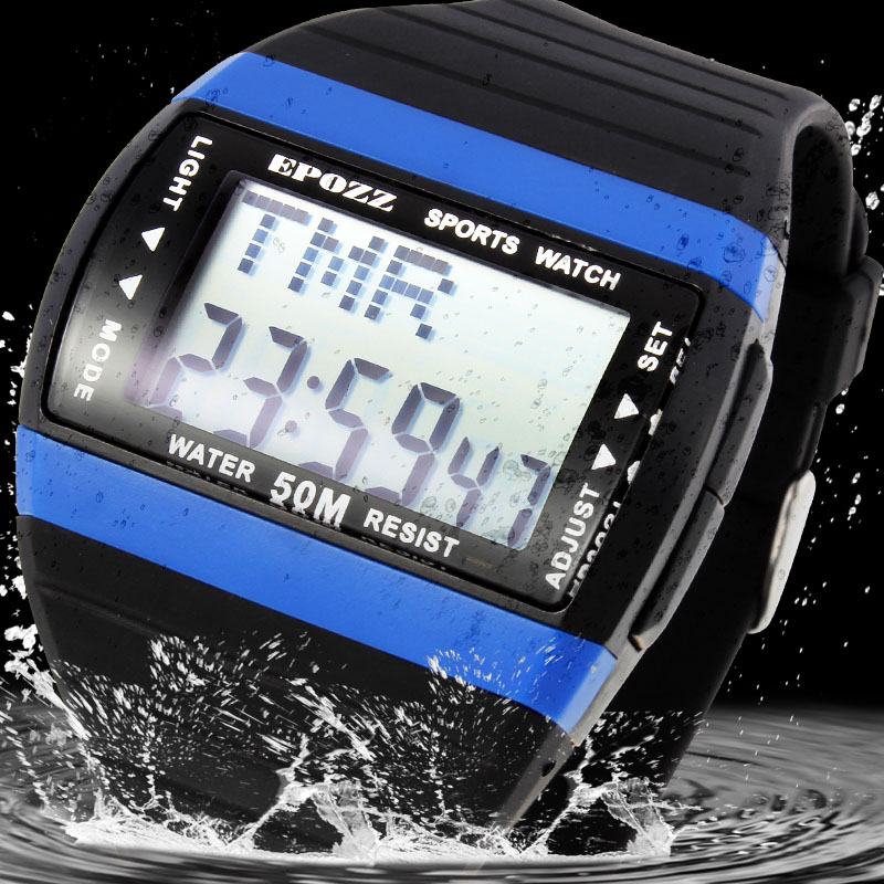 Epozz Streamline Swim Uhr Taucher Uhr Männer Sport Relogio Masculino Männlich Uhren Big Digital Display Back Light Wasserdicht 50 Mt Knitterfestigkeit Herrenuhren