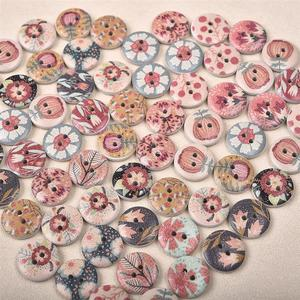 50Pcs New Flower Printed Round Wooden Button 2 Holes 15mm Mixed Wood Buttons Sewing Accessories For Clothing Decoration DIY
