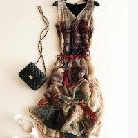 Silk Dress Women Elegant Summer Beach Long Brown Party dresses Women Printed High Quality Clothing Free Shipping HOT Selling