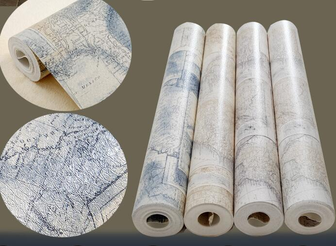 Vintage World Map Wall Paper Roll For Office Rustic Mural