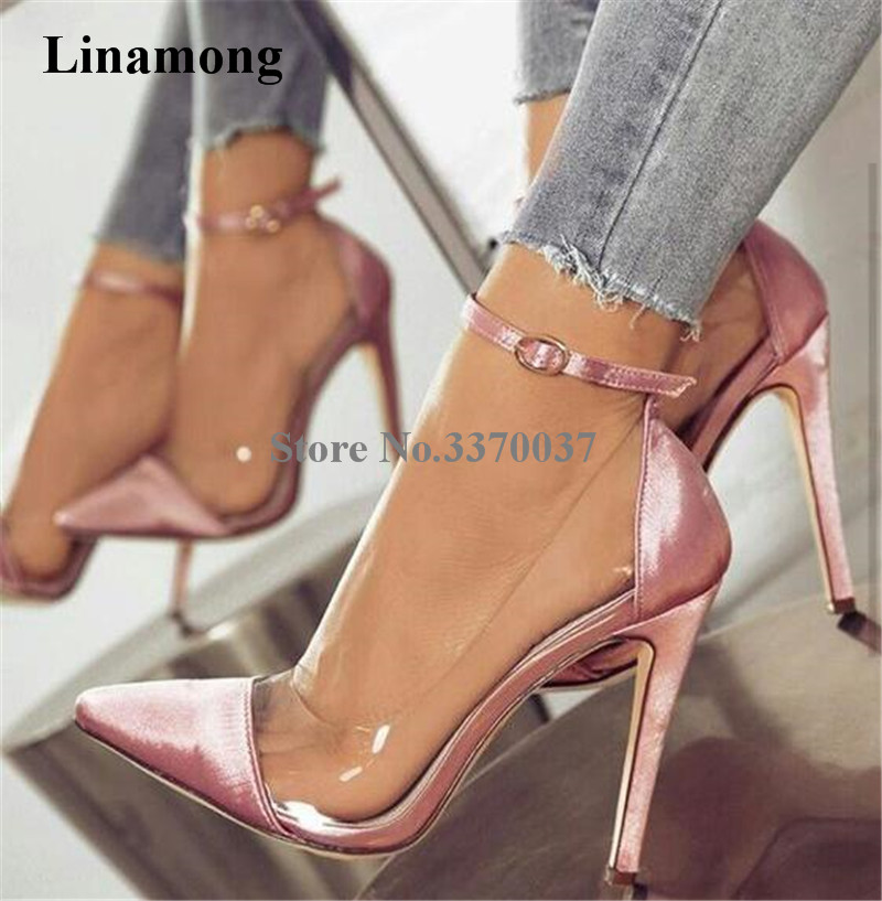 Women Beautiful Pointed Toe Pink Satin PVC Ankle Strap Pumps Transparent Thin Heel High Heels Wedding Shoes Formal Dress Shoes luxury red satin high heel pumps pointed toe crystal ankle strap wedding dress shoes thin heels cut out rhinestone sandals