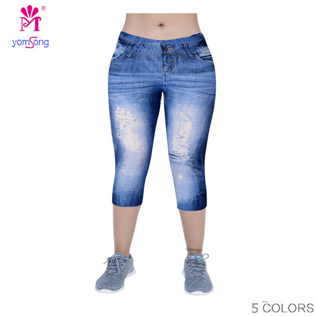 Yomsong 2016 Faux Denim Printing Jeans Leggings For Women Streched  Pants Capris  Workout Wear Brand Legging RL242