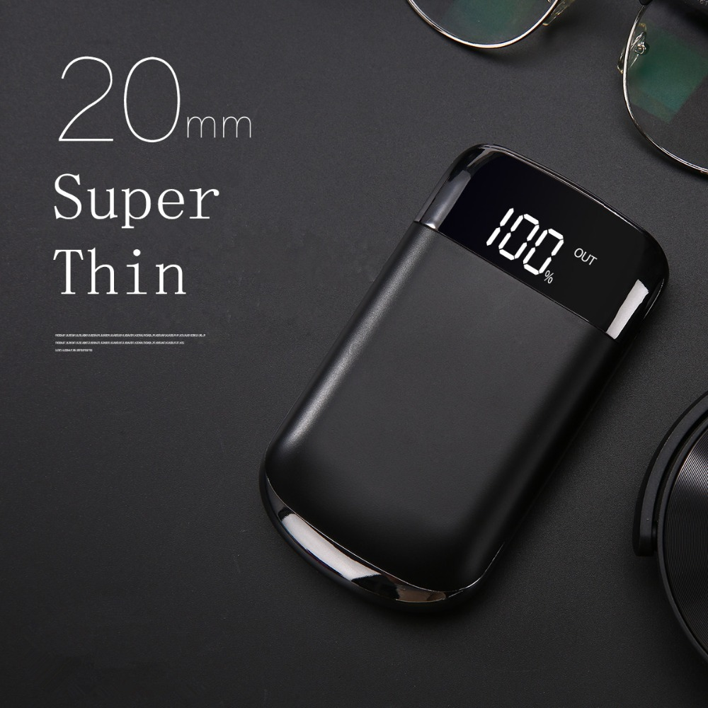 18650 Lcd 20000mah Mini Power Bank External Battery PoverBank 2 USB LCD Powerbank Portable Mobile phone Charger for iphone8 X