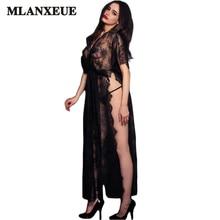 Лучший!  Sexy See Through Длинное платье Женская мода стрейч черное кружево макси платье женская летняя сетка