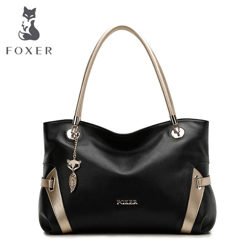 Prix pour Foxer doux femmes véritable sac à bandoulière en cuir solide multi couleur femme sac à main avec livraison gratuite