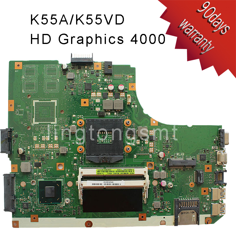 X55A Laptop Motherboard For Asus REV.2.1 Mainboard Integrated SJTNV DDR3 60-NBHMBB1100 Fully Tested laptop motherboard for toshiba a205 a200 v000108040 integrated ddr2 mainboard full tested free shipping