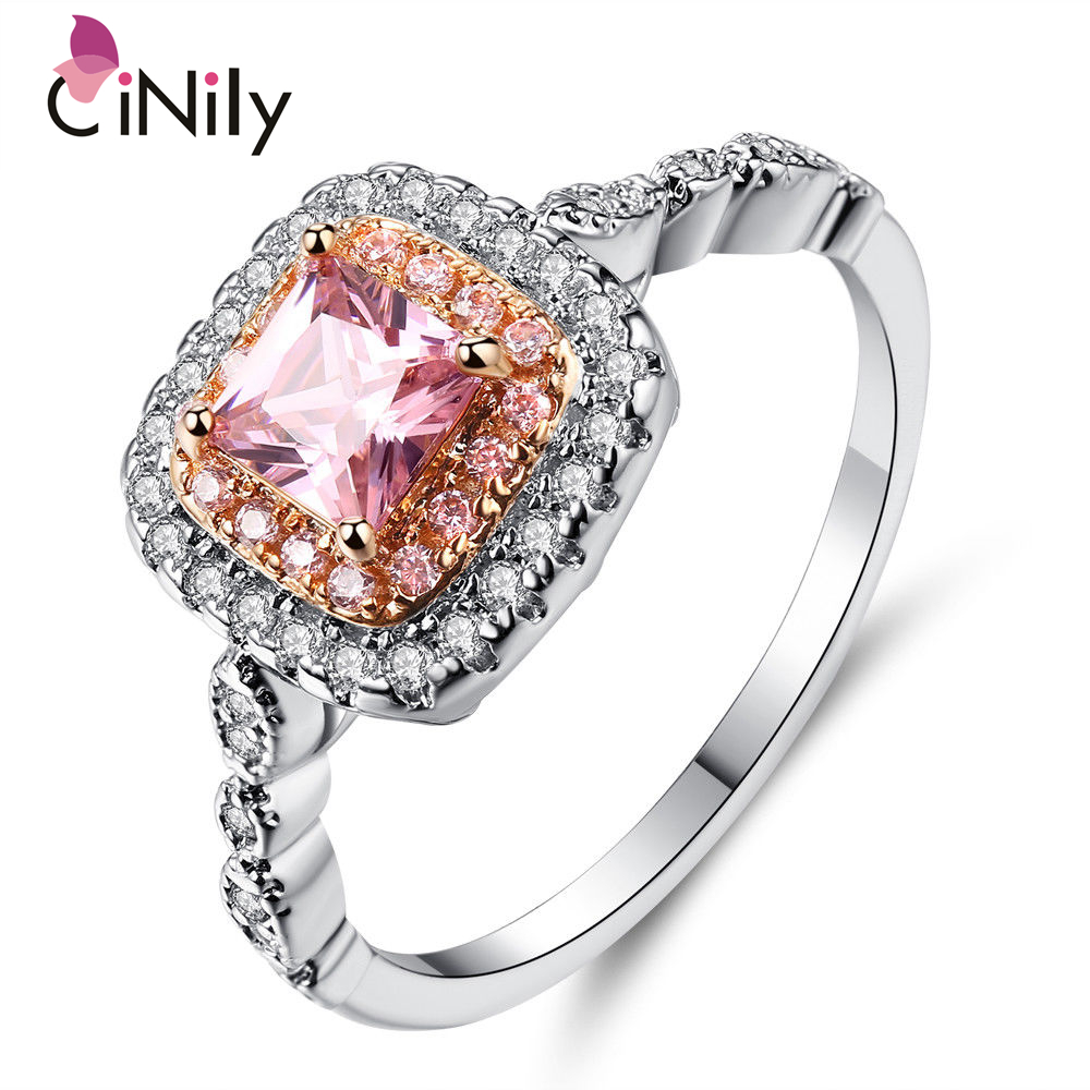Cinily Stone Wedding-Gift Jewelry Zircon Ring-Size Rose-Gold/silver-Plated Women