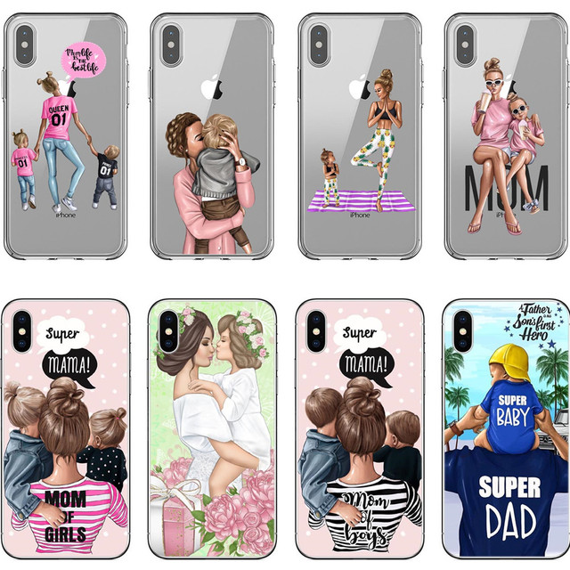 iPhone Silicone Black Brown Hair Baby Mom Girl Queen Case For iPhone