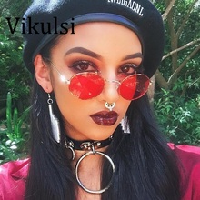 Ladies Fashion Small Oval Sunglasses Men/Women Summer Style Brand Designer Unisex Sun Glas Female Metal UV400 Red Pink Shades
