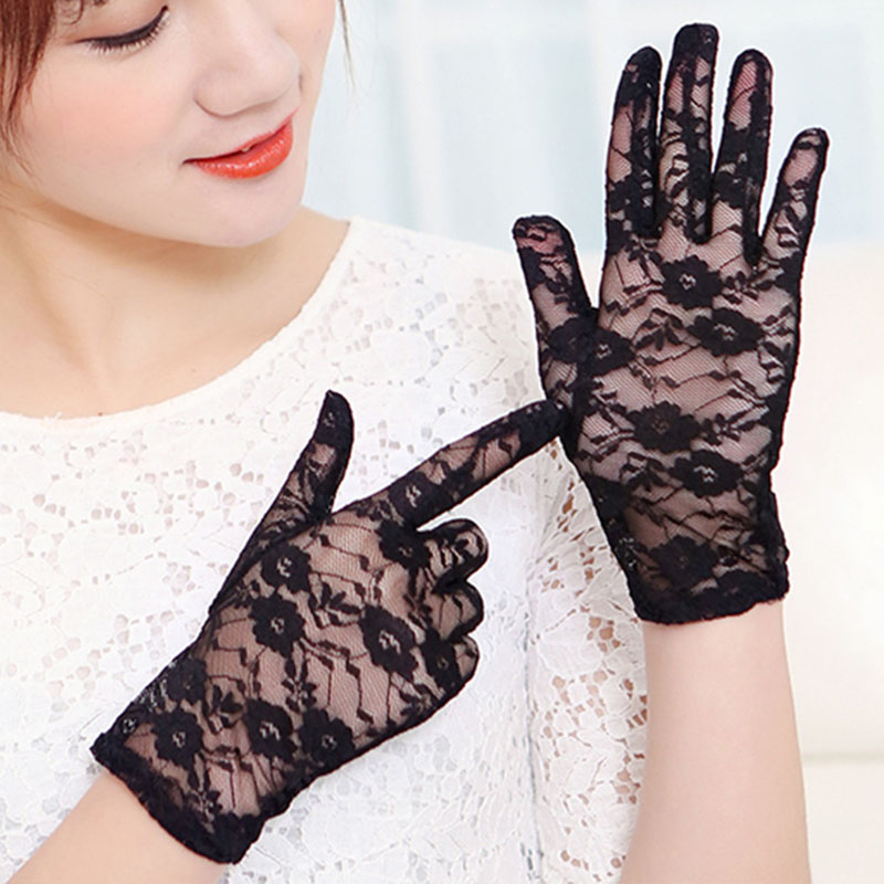 Female Sexy Lace Summer Sunscreen Gloves Ladies Ceremony Women's Gloves Breathable Short Lace Full Finger Gloves B66