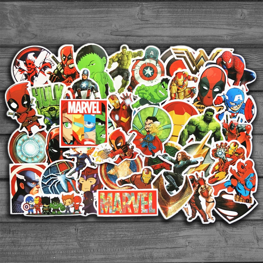 New 50Pcs/Lot Marvel Anime Classic Stickers Toy For Laptop Skateboard Luggage Decal Waterproof Funny Spiderman Stickers For Kids