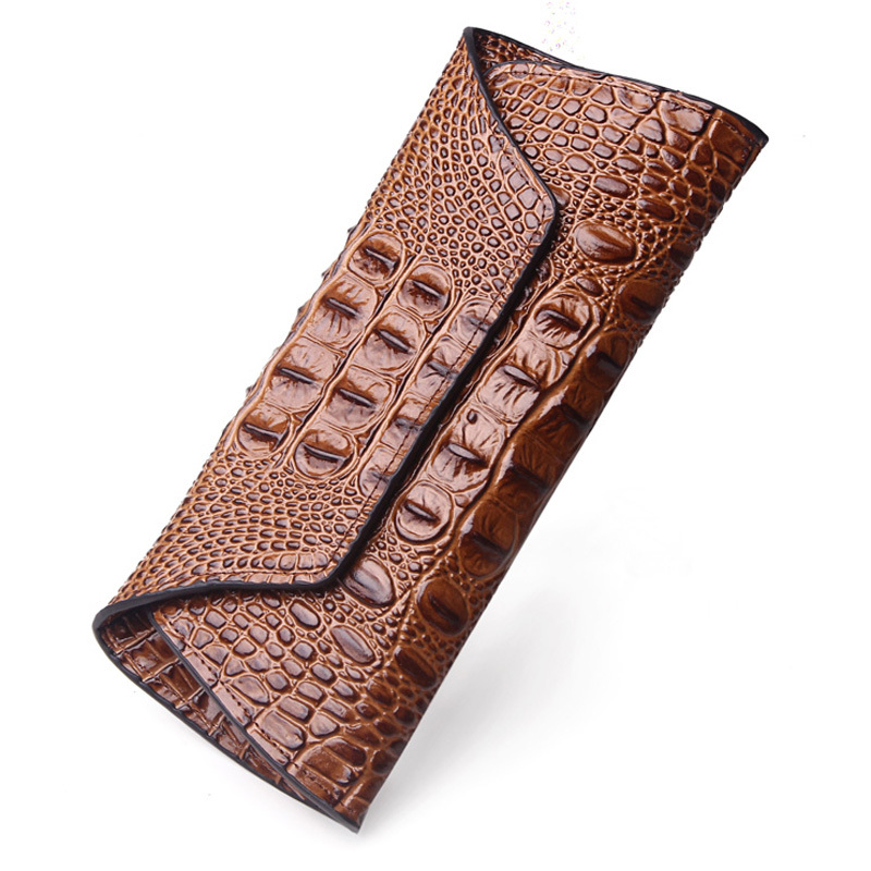 Amasie Crocodile Leather Genuine Woman Purse Cover Wallet Long Fashion Vintage Portefeuille Femme Carteira Feminina EGT0211 2018 women wallet female purse long horn deer iron side wallet carteira feminina purse female portefeuille femme wallet