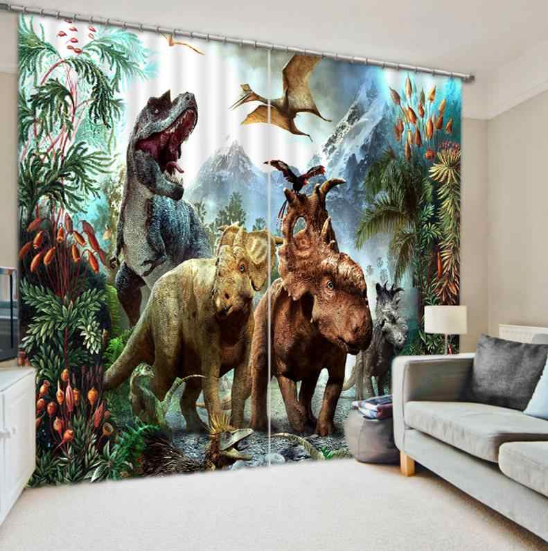 animal curtains 3D Curtain Printing Blockout Polyester Chinese Sun Photo Drapes Fabric For Room Bedroom Window