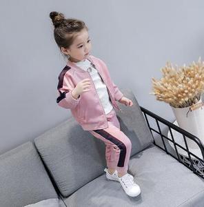 Image 2 - 2 8 lat dziewczynek dresy sportowe 2020 wiosna dzieci z długim rękawem płaszcz z suwakiem + spodnie Casual Girls odzież zestaw dzieci dres